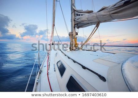 zeil · boot · zon · oceaan · Blauw - stockfoto © taiga