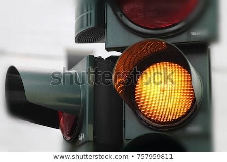 Trafik ışığı sarı mavi gökyüzü ışık gökyüzü Stok fotoğraf © idesign