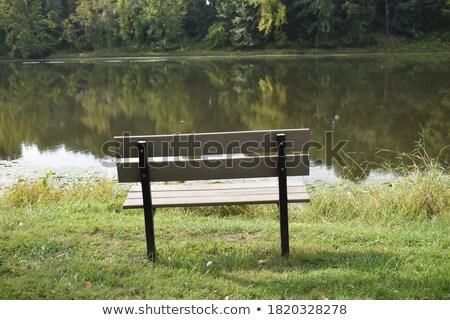 скамейке · берега · живописный · озеро · небе - Сток-фото © smuki
