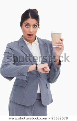 Shocked female entrepreneur with paper cup just checked the time Stock photo © wavebreak_media