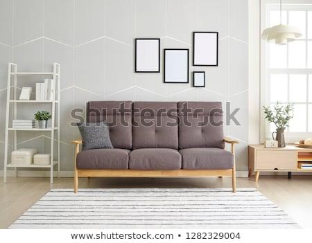Livingroom tablo büyük pencereler kahve duvar Stok fotoğraf © Ciklamen
