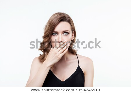 Close-up portrait of a business woman yawn, isolated on white ba Stock photo © dacasdo