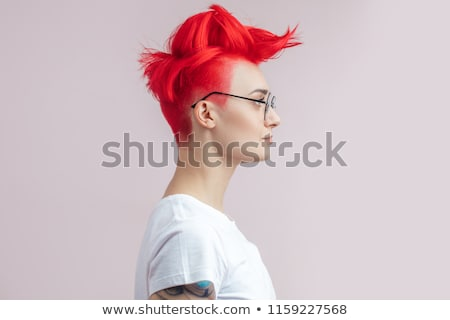 closeup woman portrait, rock style Stock photo © chesterf