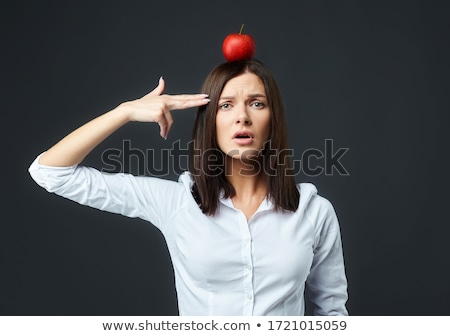 woman biting apple stock photo © fisher