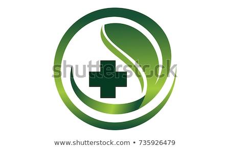Signo verde cruz medicina alternativa medicina ayudar Foto stock © Ustofre9