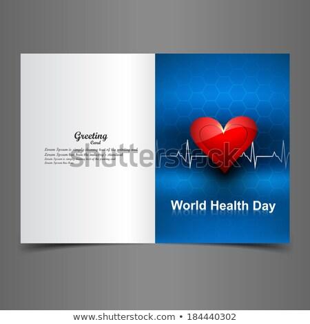 világ · egészség · nap · üdvözlőlap · szívdobbanás · színes - stock fotó © bharat