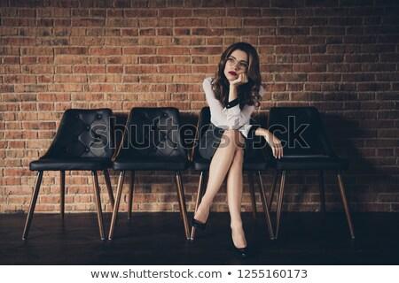 genç · kadın · beyaz · sıkılmış · kadın · oturma · sandalye - stok fotoğraf © runzelkorn