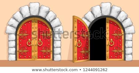 castelo · porta · top · branco · pedra · parede - foto stock © kimmit