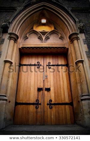 Old wooden church door stock photo © serpla