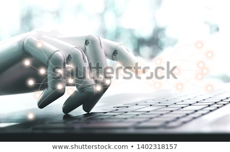 Robot with tablet computer. Computer security concept. Isolated. Contains clipping path of entire sc Stock photo © Kirill_M