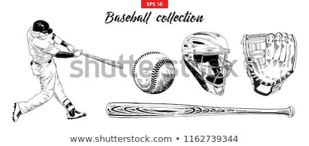 sketch baseball ball glove and bat stock photo © kali