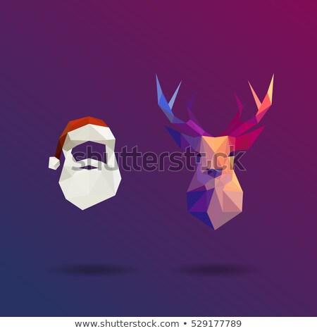 геометрический современный Дед Мороз изолированный веселый Рождества Сток-фото © cienpies