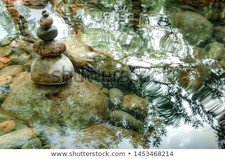 Zdjęcia stock: Amazing Tropical Rain Forest Landscape With Lake And Balancing Rocks