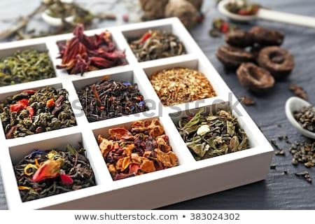 Oolong çay ahşap kaşık stok Stok fotoğraf © punsayaporn