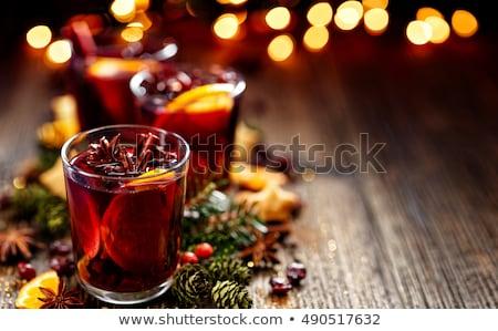 Christmas wina żywności szkła czerwony koktajl Zdjęcia stock © yelenayemchuk
