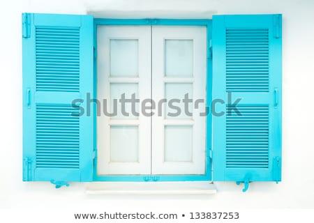 grego · janela · azul · barras · a · casa · branca · Grécia - foto stock © photocreo