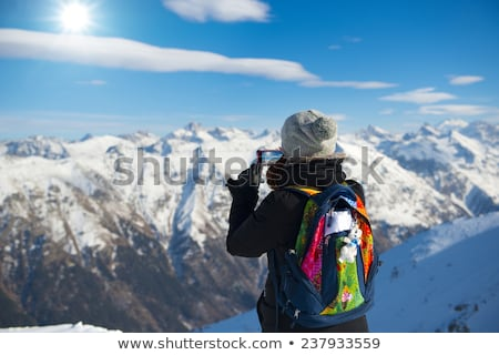 Saltar celular jovem telefone móvel mulher céu Foto stock © smuki
