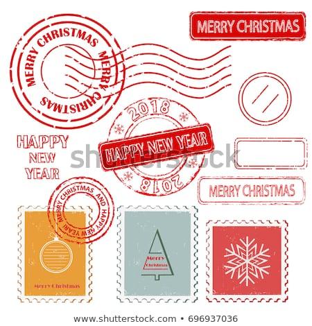 Coloré Noël timbres papier arbre Photo stock © michalsochor