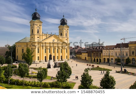 Debrecen magnifique église Night City Hongrie arbre Photo stock © joyr