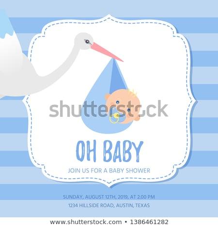 gólya · gyermek · sziluett · család · madár · madarak - stock fotó © adamson