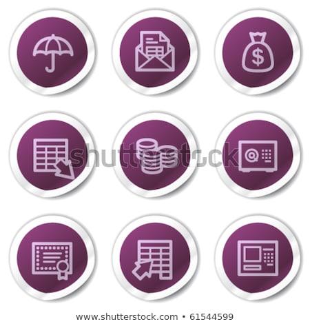 Beschermd teken paars vector icon knop Stockfoto © rizwanali3d
