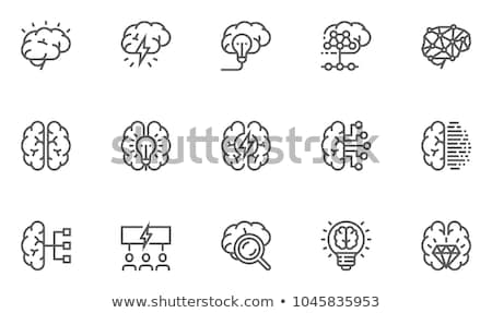 мозг иллюстрация Top мнение черный белый Сток-фото © laschi