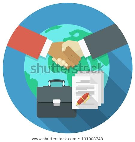Moderno business internazionale cooperazione illustrazione stretta di mano Foto d'archivio © vectorikart