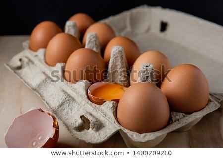 Tasty breakfast for one on a rustic wicker tray Stock photo © ozgur