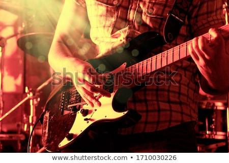 gitáros · közelkép · gitár · fény · színpad · hang - stock fotó © highwaystarz