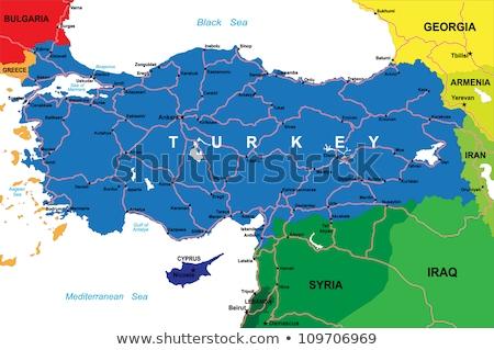 ストックフォト: 地図 · トルコ · 外に · 孤立した · 白 · 青