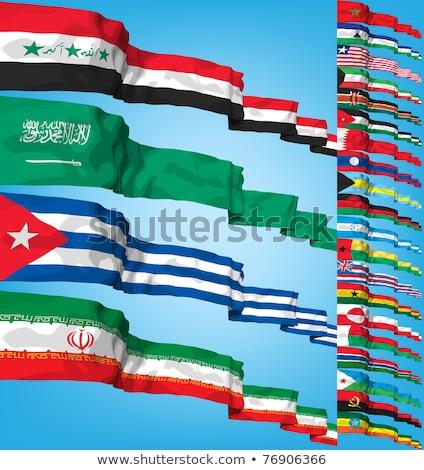 Suudi Arabistan Tiftik dokuma bayraklar bilmece yalıtılmış beyaz Stok fotoğraf © Istanbul2009