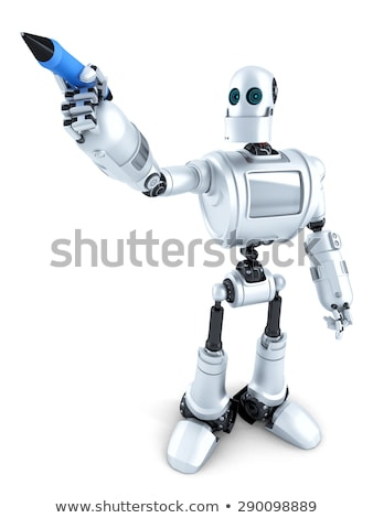 Robot writing on invisible screen. Closeup portrait. Isolated. Contains clipping path Stock photo © Kirill_M