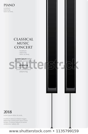 Fortepian plakat czarno białe klawisze fortepianu grunge jazz Zdjęcia stock © Bigalbaloo