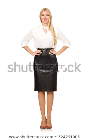 Mooie vrouw leder rok geïsoleerd witte gezicht Stockfoto © Elnur