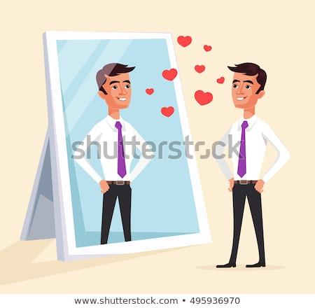 Jóképű fiatalember néz tükör öltöny büszke Stock fotó © lunamarina
