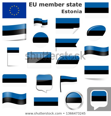 Icon vlag Estland geïsoleerd witte land Stockfoto © MikhailMishchenko