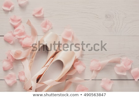 Pointe shoes on wooden background Stock photo © master1305