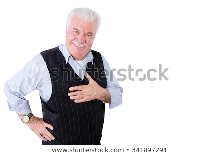 Gracious polite elderly man showing his gratitude Stock photo © ozgur