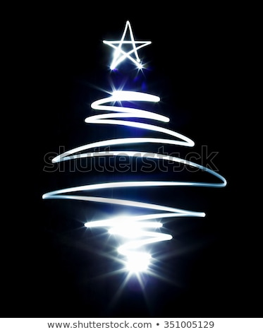 Christmas tree made with blue flashlight on a black Stock photo © vlad_star