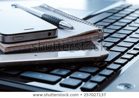 felső · kilátás · üres · nyitva · notebook · toll - stock fotó © dolgachov