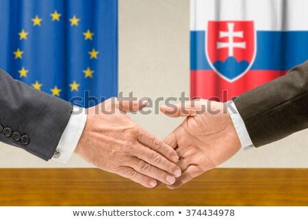 Eu Słowacja Shake Hands strony spotkanie banderą Zdjęcia stock © Zerbor