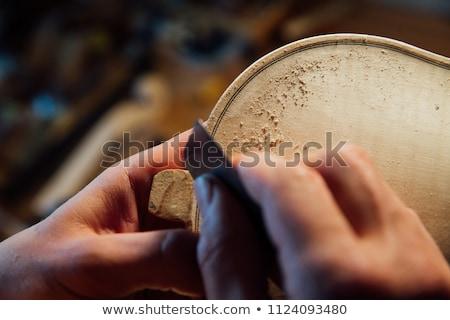 Kézműves dolgozik műhely hegedű gitár asztal Stock fotó © FreeProd