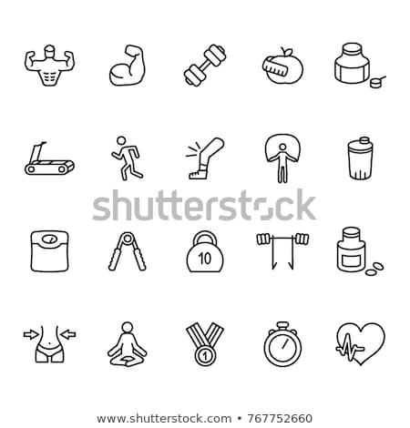 Stock fotó: Kar · súlyzó · vonal · ikon · sarkok · háló