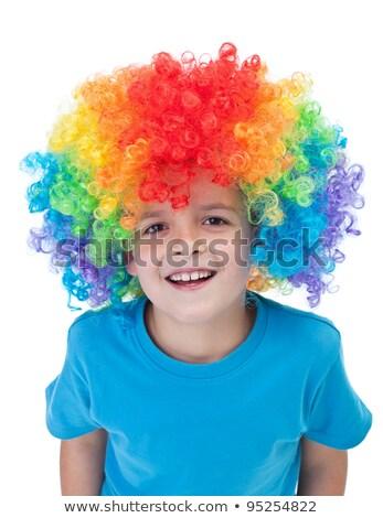 Dziecko clown włosy peruka mały chłopca Zdjęcia stock © zurijeta