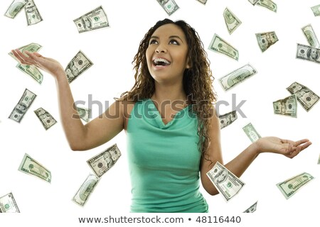 Woman Catching Money Falling From the Sky Stock photo © kentoh