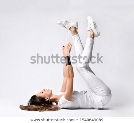 Feliz mulher jovem apertado branco camisas cabelo escuro Foto stock © Giulio_Fornasar