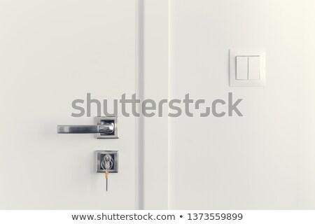 Interrupteur de lumière argent cadre mur énergie pouvoir Photo stock © tarczas