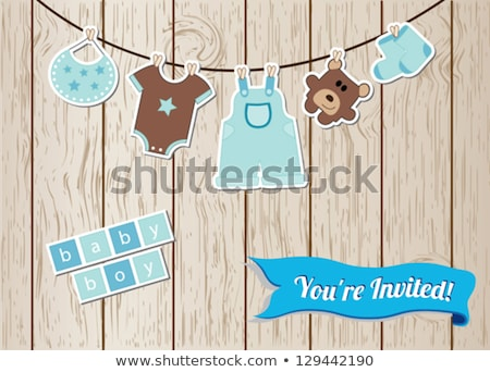 beautiful baby boy shower card with toys stock photo © balasoiu