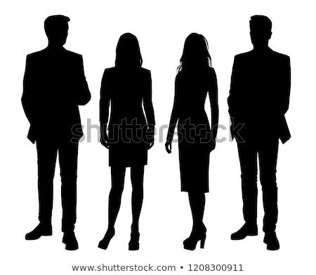 Homme d'affaires femme silhouette réunion posent eps Photo stock © Istanbul2009