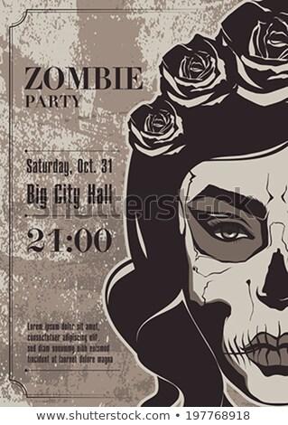 zombie · dziewczyna · portret · krwawy · makijaż · lateks - zdjęcia stock © BigKnell